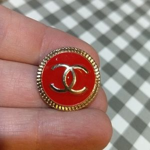 20mm Chanel Red Metal Button